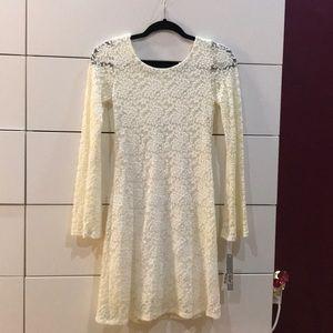 Aqua White floral lace dress